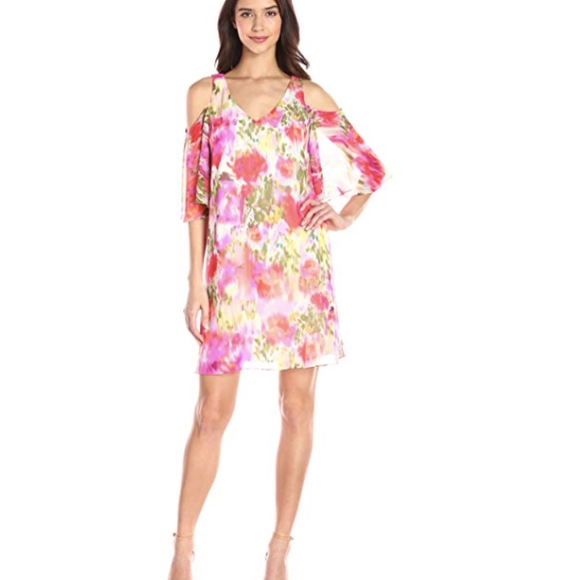 af9b2708ac6 Maggy London Floral Cold Shoulder Chiffon Dress 8